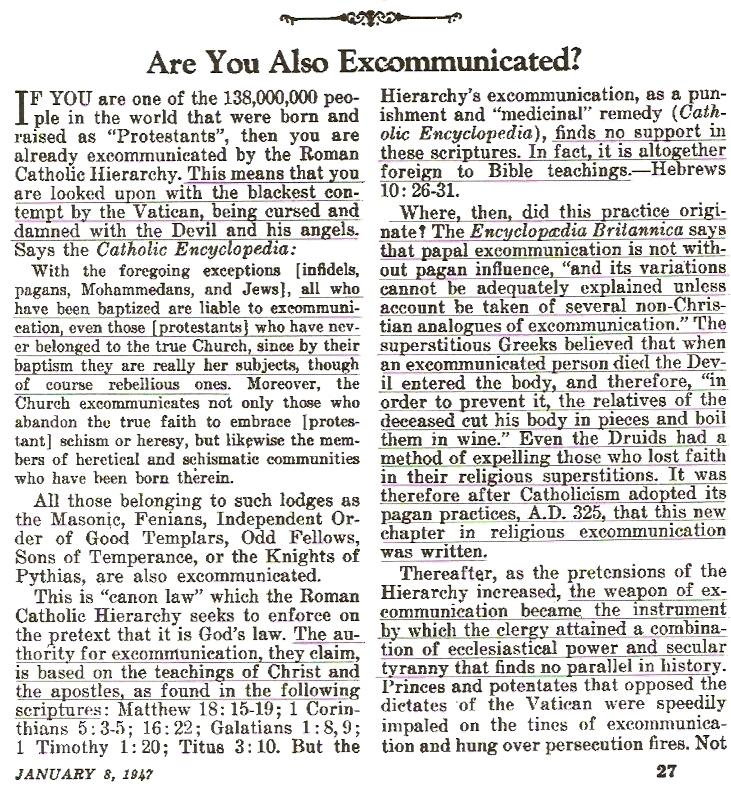 Awake 1947 page 27 excommunication