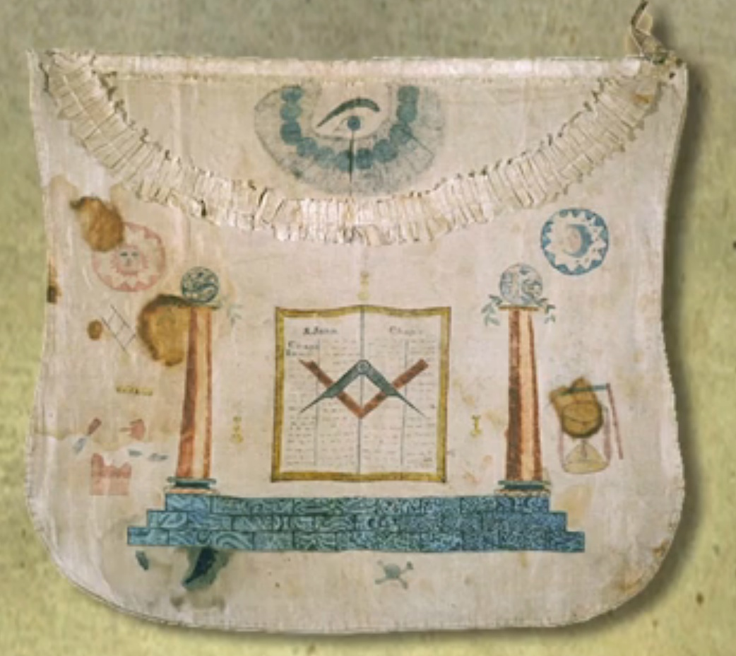 Masonic apron with two columns