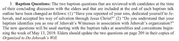 Historical changes to the Watchtower Baptism Arrangement and