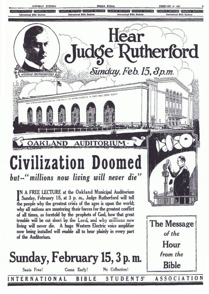 1925 and the Watchtower teaching that Millions now living will never